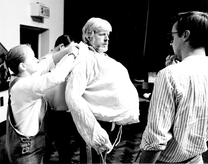 Patrick Wheatley padding up for his role as Sir John Falstaff with a (very young) Graham Vick watching; Photo by Robert Workman